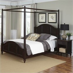 Home Styles Bermuda Canopy Bed and Night Stand Espresso Finish - Queen