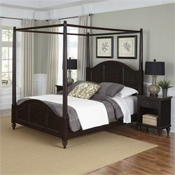 Home Styles Bermuda Canopy Bed and Two Night Stands Espresso Finish - Queen