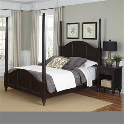 Home Styles Bermuda Poster Bed and Night Stand Espresso Finish - Queen