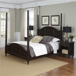Home Styles Bermuda Poster Bed and Two Night Stands Espresso Finish - Queen