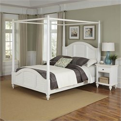 Canopy Bed and Night Stand White Finish