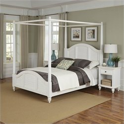 Home Styles Bermuda Canopy Bed and Two Night Stands White Finish - Queen