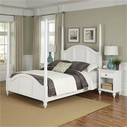 Home Styles Bermuda Poster Bed and Two Night Stands White Finish - Queen