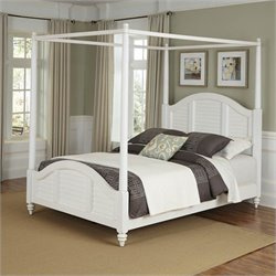 Home Styles Bermuda Canopy Bed Brushed White Finish