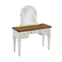 Bedroom Vanity and Mirror in White and Oak