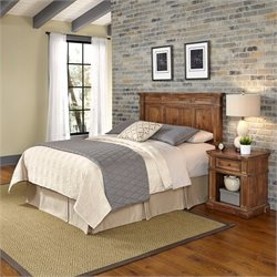Home Styles Americana Headboard 2 Piece Bedroom Set in Natural Acacia
