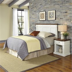 Home Styles Americana Headboard 2 Piece Bedroom Set in White and Oak