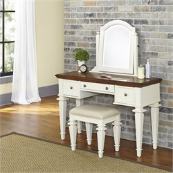 Home Styles Americana Bedroom Vanity and Bench in White and Oak