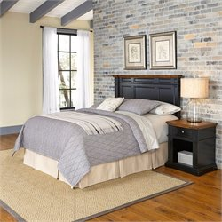 Home Styles Americana Headboard 2 Piece Bedroom Set in Black and Oak