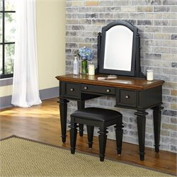Home Styles Americana Bedroom Vanity and Bench in Black and Oak