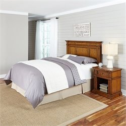 Home Styles Americana Headboard 2 Piece Bedroom Set in Oak