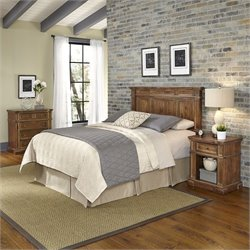 Home Styles Americana Headboard 3 Piece Bedroom Set in Natural Acacia