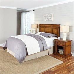 Home Styles Americana Headboard 3 Piece Bedroom Set in Oak