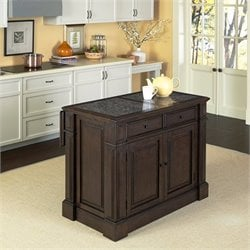 Granite Top Kitchen Island Cart in Black Oak