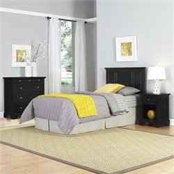 Home Styles Bedford Twin Headboard 3 Piece Bedroom Set in Black