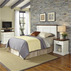 Home Styles Americana Headboard 3 Piece Bedroom Set in White and Oak