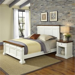 Home Styles Americana King 2 Piece Bedroom Set in White and Oak