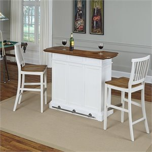 Home Bar and Two Stools in White Oak