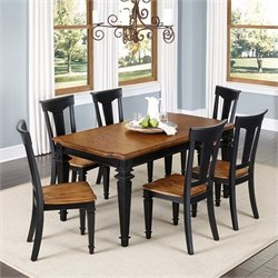 Home Styles Americana 7 Piece Dining Set in Black Oak