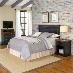 Home Styles Americana Headboard 3 Piece Bedroom Set in Black and Oak