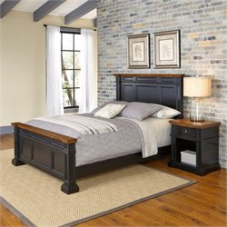 Home Styles Americana Queen 2 Piece Bedroom Set in Black and Oak