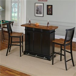 Home Styles Americana Home Bar and Two Stools in Black Oak