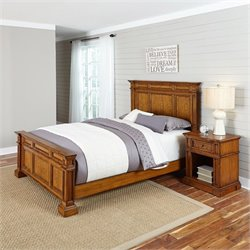 Home Styles Americana Queen 2 Piece Bedroom Set in Oak
