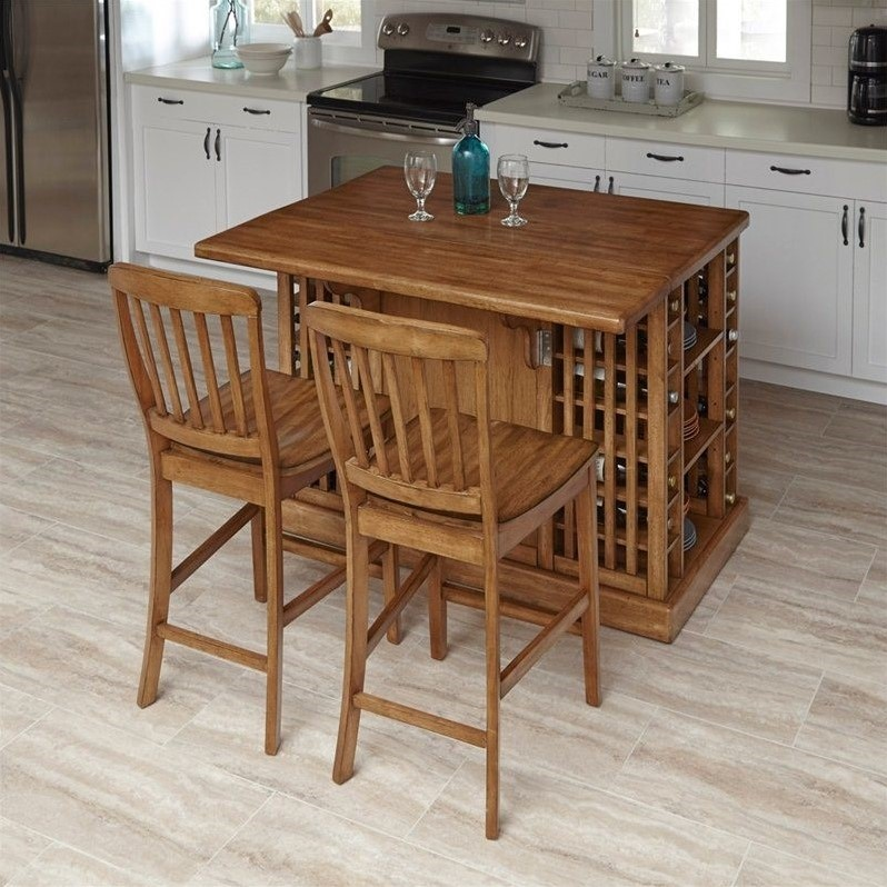 Kitchen Island With Stools In Warm Oak Set Of 2 5047 948