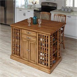 Home Styles Vintner Kitchen Island with Stools in Warm Oak (Set of 2)
