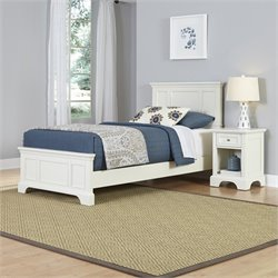 Home Styles Naples Twin 2 Piece Bedroom Set in White