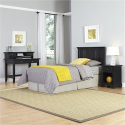 Home Styles Bedford Twin Headboard 4 Piece Bedroom Set in Black