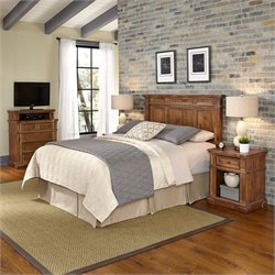 Home Styles Americana Headboard 4 Piece Bedroom Set in Natural Acacia