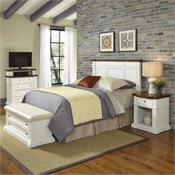 Home Styles Americana Headboard 4 Piece Bedroom Set in White and Oak