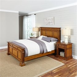 Home Styles Americana Queen 3 Piece Bedroom Set in Oak