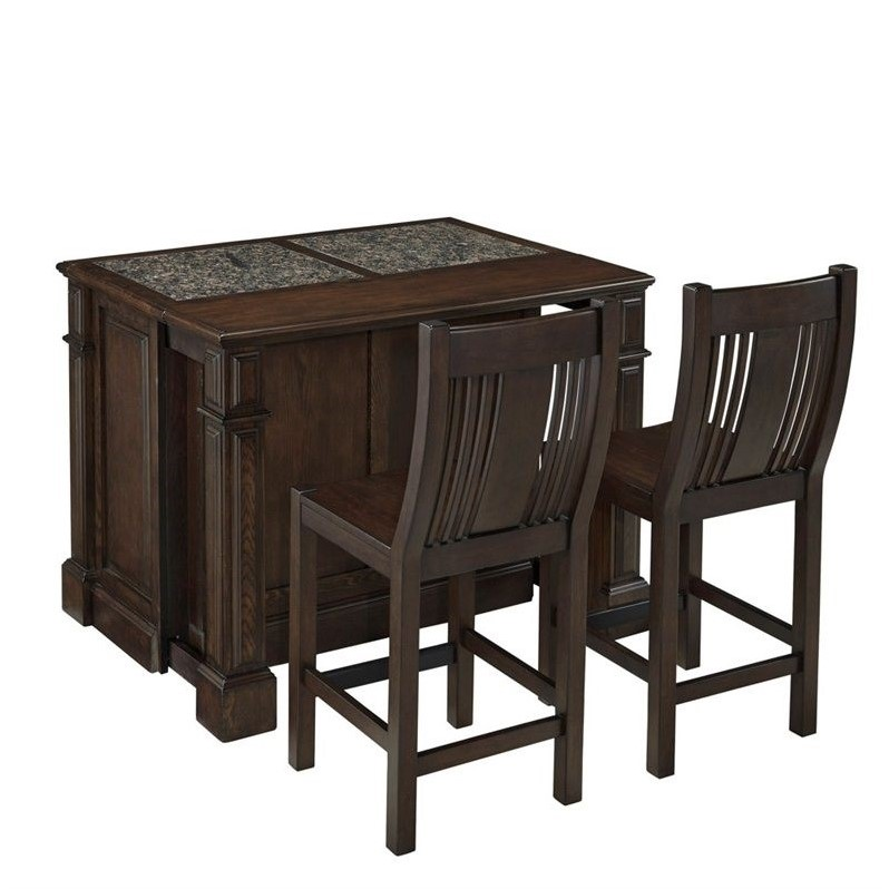 Home Styles Prairie Home Kitchen Island Cart With Stools In Black Oak 5029 948g