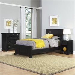 Twin 3 Piece Bedroom Set in Black