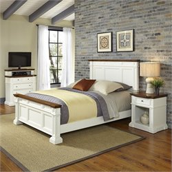 Home Styles Americana Queen 3 Piece Bedroom Set in White and Oak