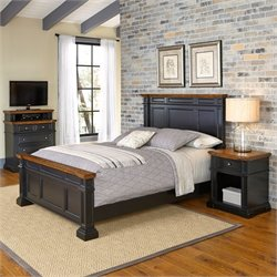 Home Styles Americana Queen 3 Piece Bedroom Set in Black and Oak