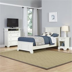 Home Styles Naples Twin 3 Piece Bedroom Set in White