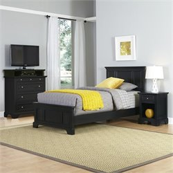 Home Styles Bedford Twin 3 Piece Bedroom Set in Black