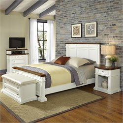Home Styles Americana Queen 4 Piece Bedroom Set in White and Oak