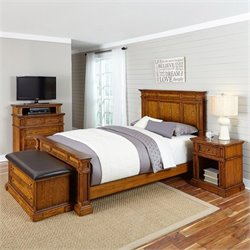 Home Styles Americana Queen 4 Piece Bedroom Set in Oak
