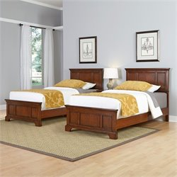 Two Twin Beds and Night Stand in Cherry