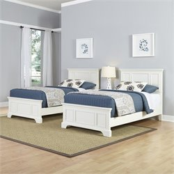 Home Styles Naples Two Twin Beds 3 Piece Bedroom Set in White