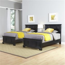 Home Styles Bedford Two Twin Beds and Night Stand in Black