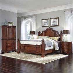 King 4 Piece Bedroom Set in Cognac