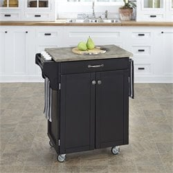 Concrete Top Kitchen Cart in Black