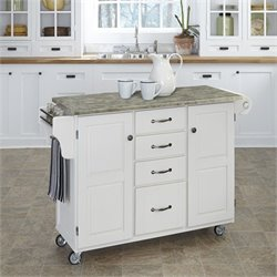 Home Styles Create-a-Cart Concrete Top Kitchen Cart in White
