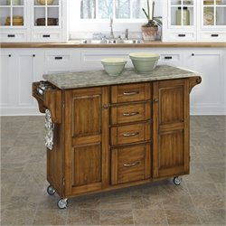 Home Styles Create-a-Cart Concrete Top Kitchen Cart in Oak