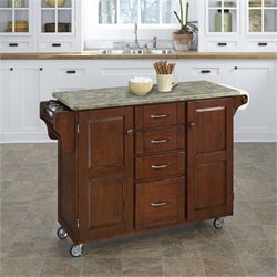 Home Styles Create-a-Cart Concrete Top Kitchen Cart in Cherry
